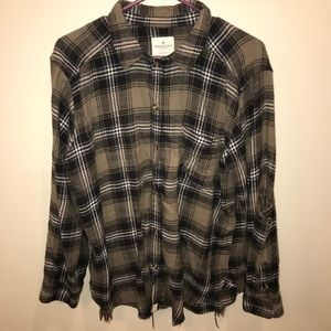 American Eagle oversized distressed flannel